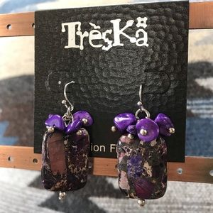 New Stone Treska Earrings Purple